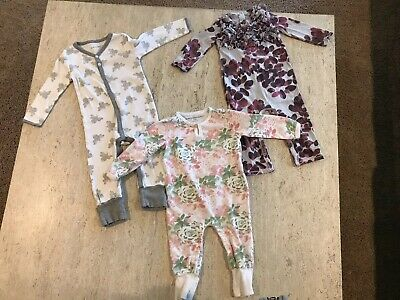 Burt's Bees Baby Toddler Girl 12-18 Months Set/3 Floral Bee Jumpers Pink White