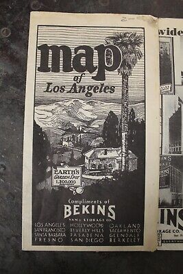 Rare near 1930s Antique Bekins moving and Storage Road Map of LOS ANGELES