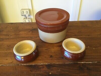 Vintage Denby Jar with Lid + 2 Pearson of Chesterfield Butter Pats or Pots