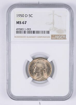 KEY DATE MS67 1950-D Jefferson Nickel - Tough - Denver Minted - NGC Graded *959