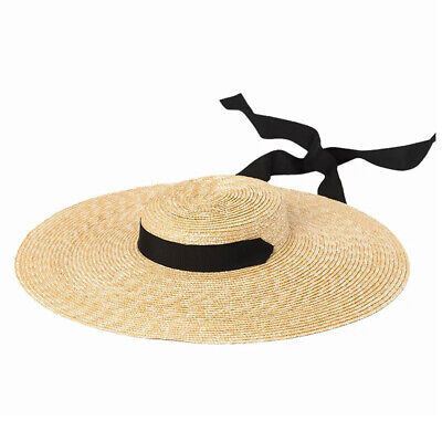 Summer Women Ladies Beach Cap Wide Brim Wheat Straw Flat Sun Hat w/ Ribbon Tie