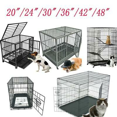 "48""/42""/36""/30""/24""/20""Pet Kennel Cat Dog Folding Crate Cage W/Divider 4 Style"