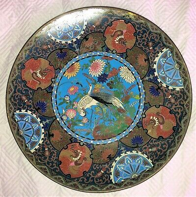 """Antique JAPANESE CLOISONNE 12"""" PLATE or CHARGER Fine~~~~~~~~~~~~~~~~~~~~~~~~~~~~"""