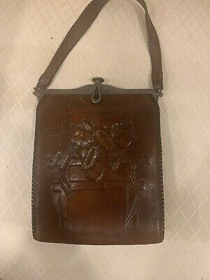 Antique Art Nouveau Deco Hand Tool Leather Turnlock Purse JEMCO Vintage