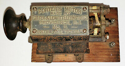 Antique Vintage Porter Motor No 3, Providence, RI, Volts 6 Amps 4 Power 1/12