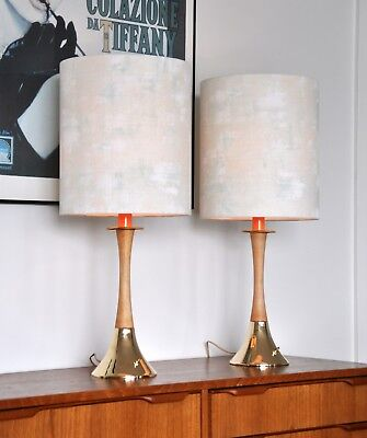 Retro MID CENTURY Tony Paul DANISH 'CREMET' table LAMP, new bespoke shades pair