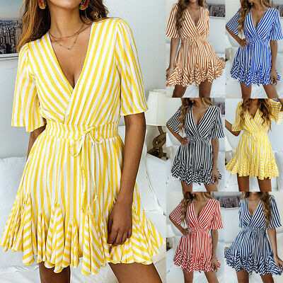 Women Holiday Striped Mini Playsuits Ladies Jumpsuits Beach Summer Skater Dress