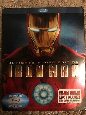Iron Man (2-Disc Ultimate Edition + BD Live) Blu-Ray, FACTORY SEALED, Slip Cover