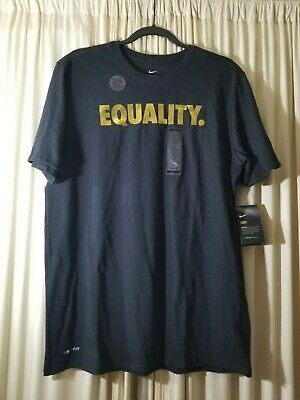 787f5c758 Nike Equality Black Gold Metallic Dri-Fit T-Shirt Men's Large AO8200-010