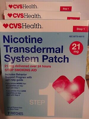 CVS Health Nicotine Transdermal System Patch 21 Patches 21MG Step 1 exp 06/2019