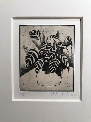 Signed Modernist Abstract Artist Proof Botanical Etching B Beamesderfer Gallery