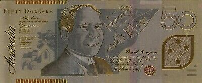 Australia Collectibles 24k Gold Plated Foil Banknote 50 Fifty Dollars