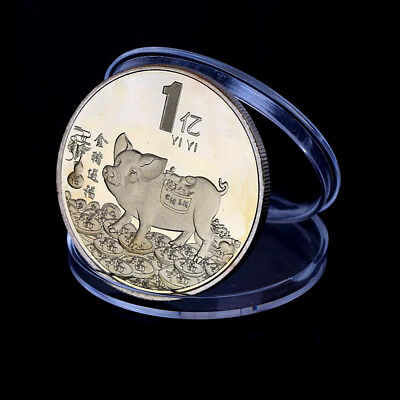 Gold plated pig commemorative coin Chinese zodiac souvenir coin tourism giftZP