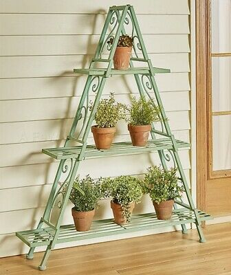 Patina A-Frame Scrolled Metal Shelving Storage Shelf Unit Plant Stand