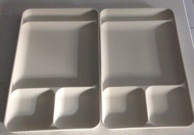 Vintage Tupperware Divided Trays x 2 - beige 38 X 23cm 4 compartments $20.