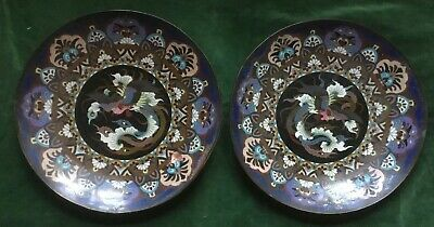 Large Pair Of Antique Japanese Meiji Period Phoenix Cloisonné Chargers/Plates