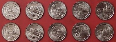 Brilliant Uncirculated 2014 5P & 5D US National Parks 25 Cents From Mint's Rolls