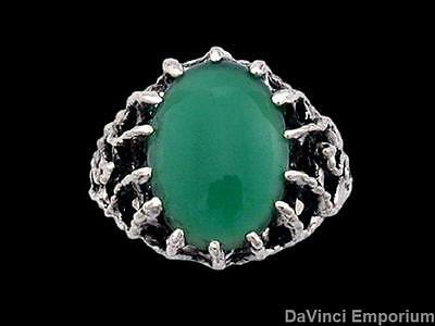 Sterling Silver Medieval Green Knight Lord's Ring with Green Onyx
