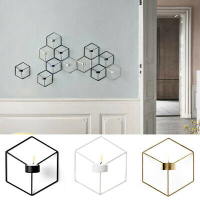 3D Geometric Candlestick Metal Wall Candle Holder Sconce Home Decor#