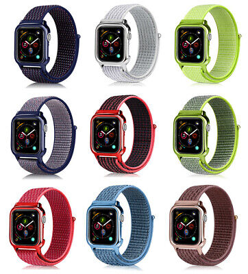 Sports Loop Woven Nylon Band Strap + PC Case For Apple Watch Series 4 40MM 44MM