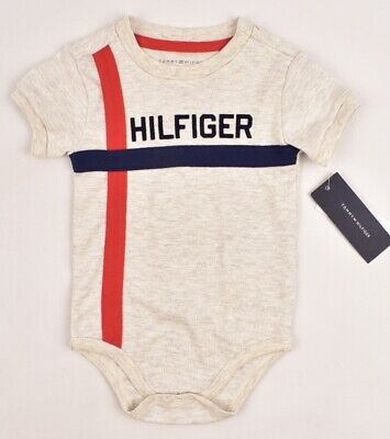 TOMMY HILFIGER Baby Boys' Bodysuit, Grey/Blue/Red, size 24 months