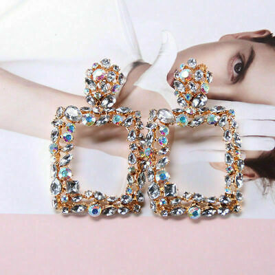 Gold Raised Rhinestones Zara Rectangle Drop Earrings Studs Bloggers Sold Out UK