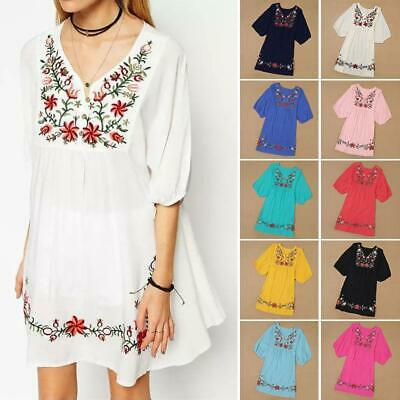 Hot Sale Women Vintage Ethnic Mexican Embroidered Pessant Hippie Boho Mini Dress