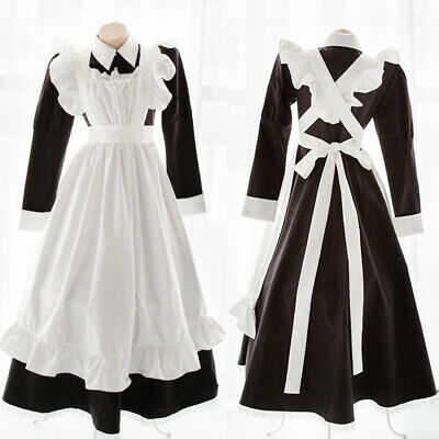 Japanese Women's Kawaii Maid Uniform Apron Long Dress Role Play Cosplay Costume