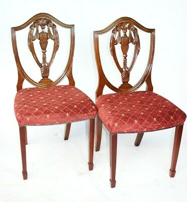 Pair of Vintage Hepplewhite Mahogany Shield Back Chairs [5224C]