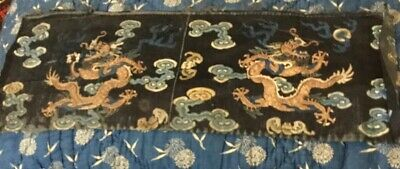 19 Th Century Chinese Silk Embroidered Dragon Chasung The Pearl