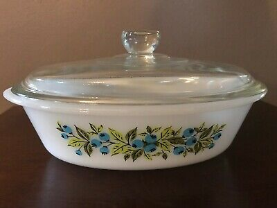 Glasbake Pyrex Vtg 1960's Casserole Dish Oval Blueberry Pattern w/ glass lid