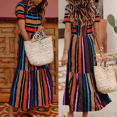Bohemian Rainbow Striped Short-Sleeved Skirt & Summer Women Printed Sundress
