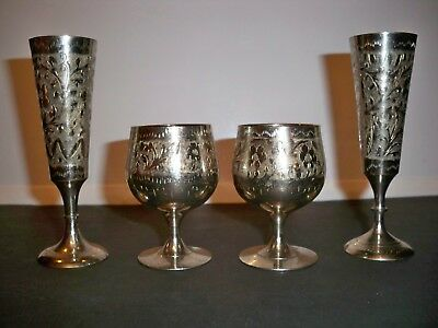 4 India Silverplated Brass Goblets
