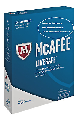 McAfee LiveSafe Unlimited Devices 12m license New/Renew Instant Delivery 2019 +