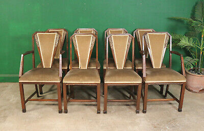 8 Art Deco Dining Chairs, Antique, Vintage, Mahogany & Walnut, Upholstered