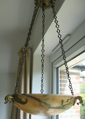 Antique French Art Nouveau Alabaster Ceiling Light Shade with Chains 1905 superb