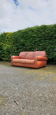 Stylish Large Tan Leather Rustic Sofa 3 Seater. UK DELIVERY AVAILABLE