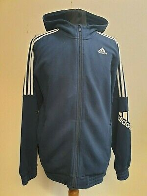 B32 Mens Adidas Navy Blue Cotton  Tracksuit Top Hoodie Medium M 38-40""
