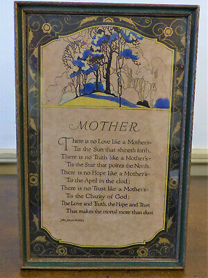 Vintage 1930s Art Deco BUZZA Type Motto FRAMED Print MOTHER JARVIS Volland Co #2