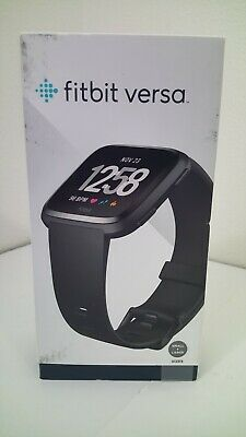 Fitbit Versa Smartwatch Aluminum Black w/Sm and Lg bands Bluetooth