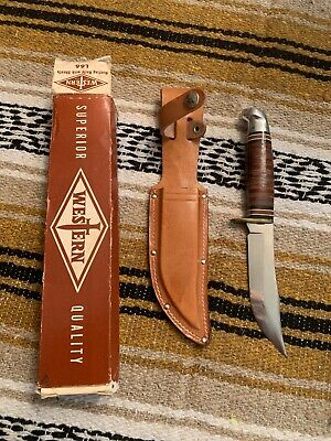 Vintage Western USA L66 Hunting Fishing Survival Bowie Knife With Sheath/box