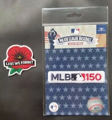 MLB Lest We Forget Patch + 150th MLB Anniversary Memorial Day 2019 jersey patch