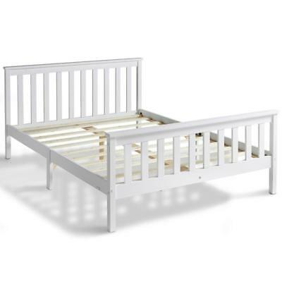 White Pine Double Bed Frame Slatted Base Solid Wood Wooden Bedroom Furniture NEW