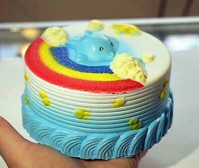 Jumbo Squishy Rainbow Whale Cake Giant Slow Rising Stress Relief Toy Kids Gift