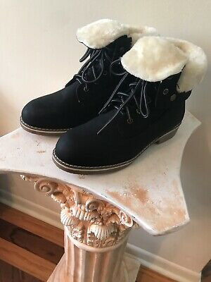 NWOB DREAM PAIRS Women's Montreal Black Faux Fur Ankle Bootie Hiking Boot 10