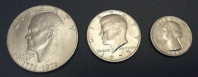 3 US Coins Eisenhower Bicentennial Dollar 1973 Kennedy Half 1988 Lincoln Quarter