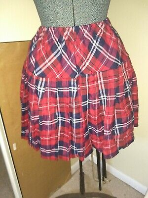 431aecf567 NEW Woman's Ladies Juniors Plaid Pleated School Girl Skirt red white blue  XL emo