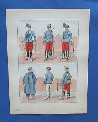 Rare 1880 French Third Republic Hussars Uniforms Print