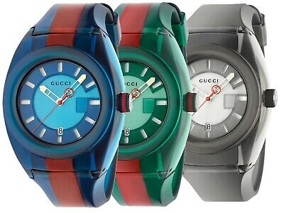 GUCCI Men Sync XXL Rubber Band Water Resistant  Stainless Steel Watch