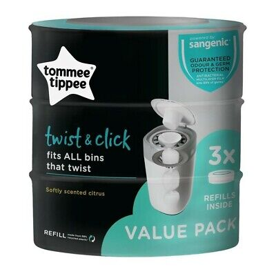 Tommee Tippee Twist and Click Advanced Nappy Disposal System Refill Cassettes...
